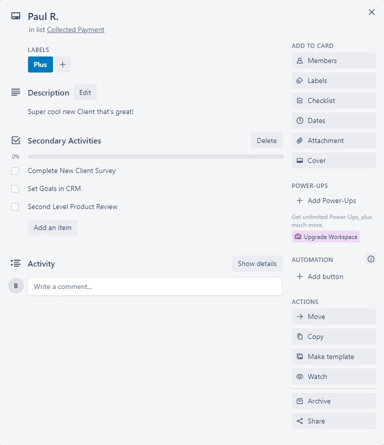 Completed Trello Template