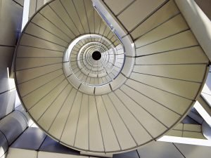 Stairs in a continuous circle of improvement (raising to the next level)